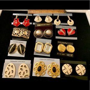 12 prs vintage earrings pierced enamel deadstock